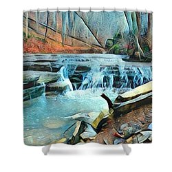 Muscatatuck Falls Touch Of Blue Abstract Shower Curtain