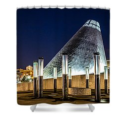 Shower Curtain featuring the photograph Museum Of Glass Water Forest At Twilight by Rob Green
