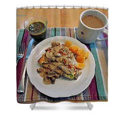 Shower Curtain featuring the digital art Mushroom Gravy Over Breakfast Quiche  by Jana Russon