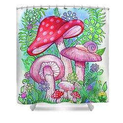 Mushroom Wonderland Shower Curtain by Jennifer Allison
