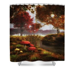 Mushrooms And River Shower Curtain