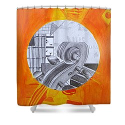 Shower Curtain featuring the painting Music 3 by Maria Langgle