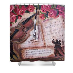 Music And Roses Shower Curtain by Vesna Martinjak