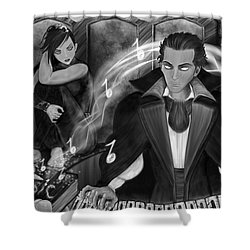Music Is Magic - Black And White Fantasy Art Shower Curtain