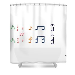 Shower Curtain featuring the digital art Music Notes 1 by David Bridburg