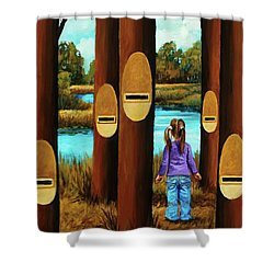 Shower Curtain featuring the painting Music Of Forest by Igor Postash