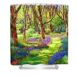 Shower Curtain featuring the painting Music Of Light, Bluebell Woods by Jane Small