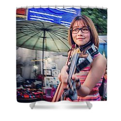 Music On The Streets, Chiang Mai Shower Curtain by Aleck Cartwright