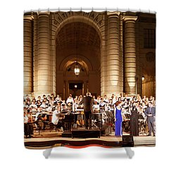 Shower Curtain featuring the photograph Music Under The Stars - Symphony At Pasadena City Hall California by Ram Vasudev