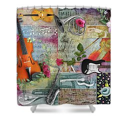 Musical Garden Collage Shower Curtain