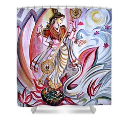 Musical Goddess Saraswati - Healing Art Shower Curtain
