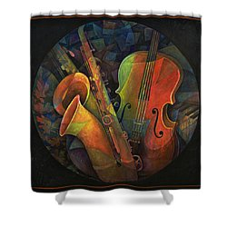 Musical Mandala - Features Cello And Sax's Shower Curtain by Susanne Clark