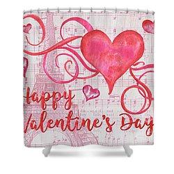 Musical Valentine Shower Curtain by Debbie DeWitt