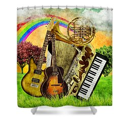 Musical Wonderland Shower Curtain by Ally White