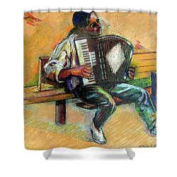 Shower Curtain featuring the drawing Musician With Accordion by Stan Esson