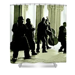 Musicians In The Park Shower Curtain by Sandy Moulder