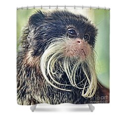 Mustache Monkey Watching His Friends At Play Shower Curtain by Jim Fitzpatrick