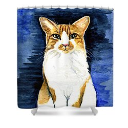 Mustached Bicolor Beauty - Cat Portrait Shower Curtain