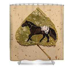 Mustang Appaloosa On Poplar Leaf Shower Curtain