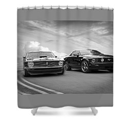 Mustang Buddies In Black And White Shower Curtain