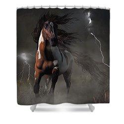 Mustang Horse In A Storm Shower Curtain by Daniel Eskridge