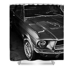 Mustang In Black And White Shower Curtain