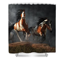 Shower Curtain featuring the digital art Mustangs Of The Storm by Daniel Eskridge