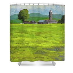 Mustard Fields Indiana Shower Curtain by Nora Sallows
