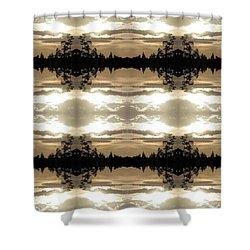 Shower Curtain featuring the digital art Muted Sunset Design by Ellen Barron O'Reilly