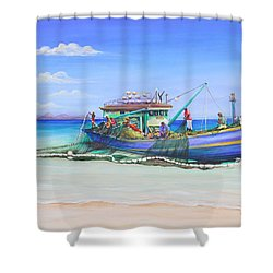Shower Curtain featuring the painting Mv Alice Mary by Patricia Piffath