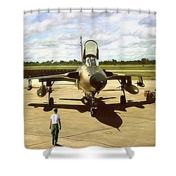 My Baby F-105 Shower Curtain by Peter Chilelli