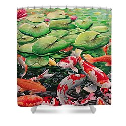 My Backyard Pond Shower Curtain