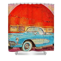 My Blue Corvette At The Orange Julep Shower Curtain by Carole Spandau