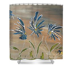 Shower Curtain featuring the painting My Blue Garden by Pat Purdy