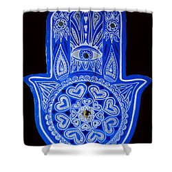 Shower Curtain featuring the painting My Blue Hamsa by Patricia Arroyo