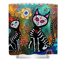 My Cats Dia De  Los Muertos Shower Curtain