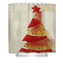 Shower Curtain featuring the digital art My Christmas Tree 02 - Happy Holidays by Aimelle