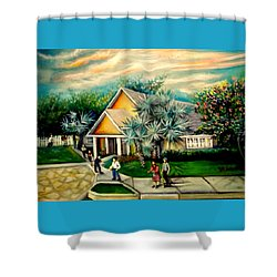 Shower Curtain featuring the painting My Church by Yolanda Rodriguez