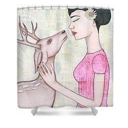 My Deer Shower Curtain by Natalie Briney