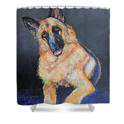 My Dog Jake German Shepherd Painting Shower Curtain by Jennifer Godshalk