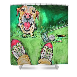 My Dog Putter Shower Curtain