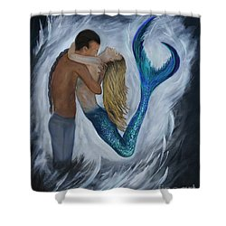 Shower Curtain featuring the painting My Dream Mermaid by Leslie Allen