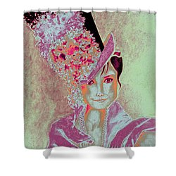 My Fair Audrey -- In Raspberry And Orange Shower Curtain