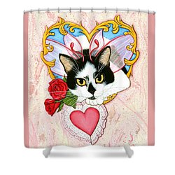 Shower Curtain featuring the painting My Feline Valentine Tuxedo Cat by Carrie Hawks