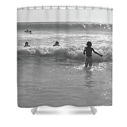 My Fist Time In The Sea Shower Curtain by Beto Machado