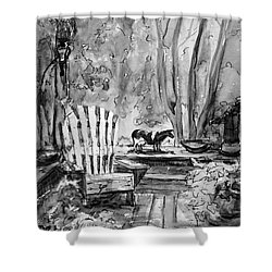 Shower Curtain featuring the painting My Front Deck In Bw by Gretchen Allen