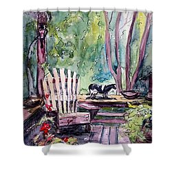 Shower Curtain featuring the painting My Front Porch by Gretchen Allen