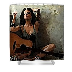 My Guitar Shower Curtain by Shlomo Zangilevitch