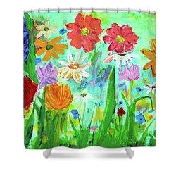 My Happy Garden 1  Shower Curtain by Haleh Mahbod