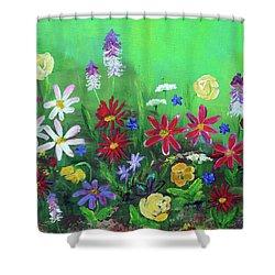 My Happy Garden 2 Shower Curtain by Haleh Mahbod